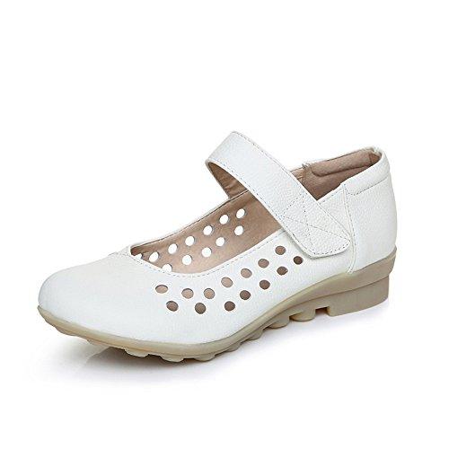 XZGC Enfermeras de Primavera Zapatos Zapatos de Cuero Suave de Fondo Plano. Blanco oscuro