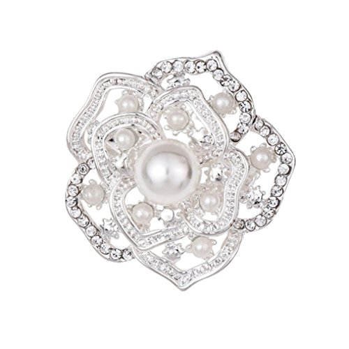 Botrong Flower brooch, Vintage Style Crystals Imitation Pearl Large Bow Brooch Wedding (Silver)