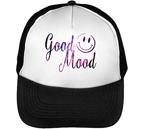 Fashioned Hombre Good Slogan Snapback Negro Gorras Smiley Beisbol Blanco Mood XqRxEtrwX