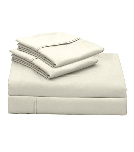 Lily Linens 300 TC Plain Long Stapled Satin Premium 100% Cotton 4-Piece Bed Sheet Set (King, Ivory) - Flat Sheet, Fitted Sheet and 2 Pillow (100 Piece Satin)