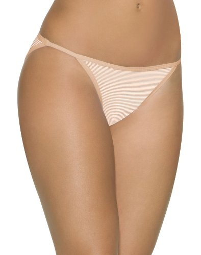 Barely There Women`s Invisible Look String Bikini,2597,L/7,Soft Taupe Stripe