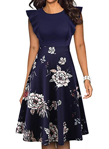 YATHON Womens Classic O Neck White Flower Print Wedding Guest Party Church Dress (M, YT001-Navy Floral P1)