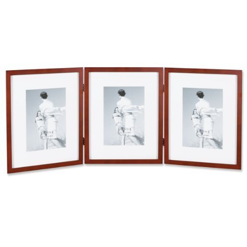 Lawrence Frames Walnut Wood 8 by 10-Inch Hinged Triple Picture Frame, Comes with Bevel Cut Mats for 5 by 7-Inch Photos
