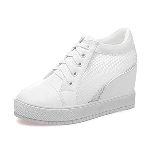 7 CM Talon Femme Mode Sneaker Baskets Dentelle Chaussure Compensé RPqa0wR