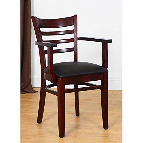 - Beechwood Mountain BSD-5A-Dm Solid Beech Wood Arm Chair in Dark Mahogany for Kitchen & Dining