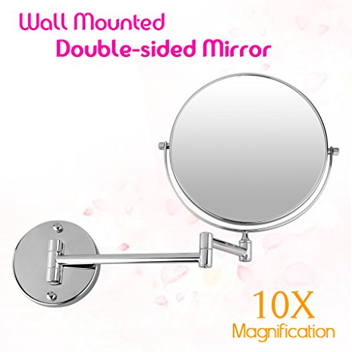 (Excelvan Magnification 8 Inch Double-Sided Swivel Wall Mount Makeup Mirror (10X))
