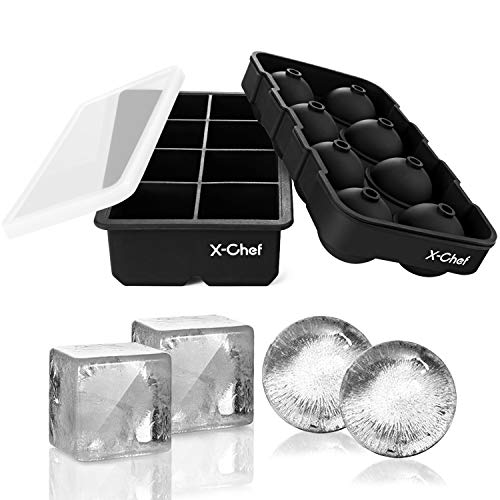 X-Chef Ice Cube Tray Set of 2, Silicone Ice Square and Sphere Molds with Lids for Whiskey Cocktail Beverages, BPA Free and - Sphere 2