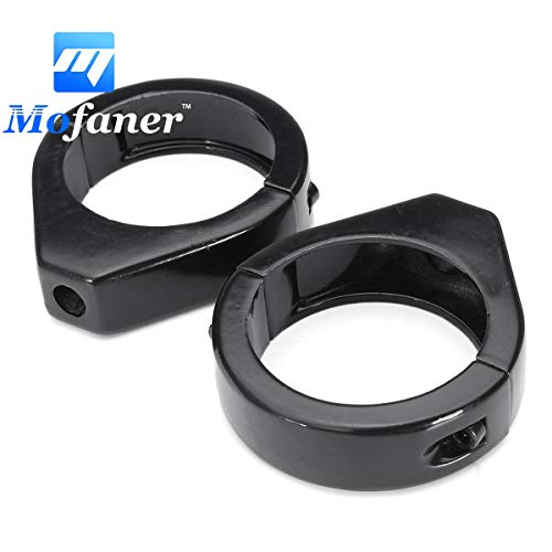 Star-Trade-Inc - 49mm Black Grooved Fork Tube Mounted Turn Signal Relocation Clamps For Harley 1Pair