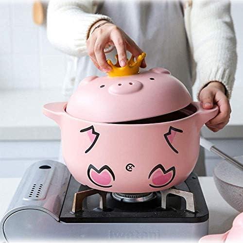 Casserole Lovely Pink Pig Casserole, Céramique Double poignée des ménages Cooker Soupe au poulet riz Marmite Dutch Le Nouveau (Size : A7.7in)