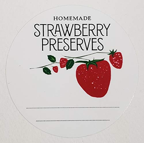 Homemade Strawberry Preserves Jam Jelly Mason Jar Labels, 2