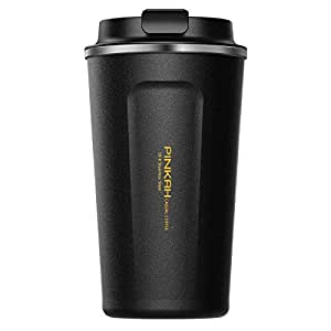 Travel-to-go 17OZ Travel Coffee Mug Stainless Steel Double Vacuum Cup Leak Proof Vacuum Thermal Insulated Tumbler Water Bottle for Office Car Home Leisure 510ml, Black