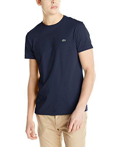 Lacoste Men's Short Sleeve Jersey Pima Regular Fit Crewneck T-Shirt, Navy Blue, 6 (Ape Logo T-shirt)