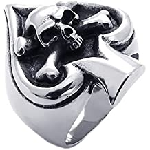 KONOV Vintage Gothic Skull Biker Tribe Ace of Spades Stainless Steel Mens Ring