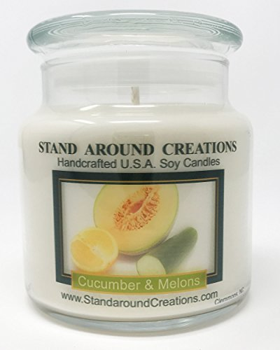 Premium 100% Soy Apothecary Candle - 16 oz. - Cucumber & Melons: A fruity honeydew melon w/green cucumber. by Stand Around Creations