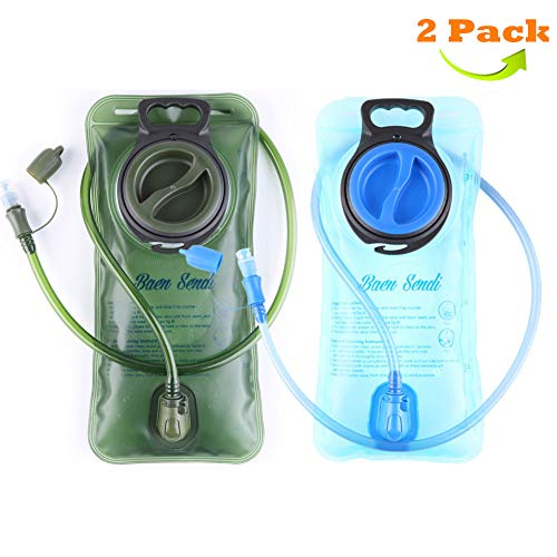 Baen Sendi 2 Pack Hydration Bladder 2 Liter/70 oz - Pack of 2(1 Piece Blue+1 Piece ArmyGreen) - BPA Free Hydration Pack Replacement