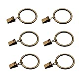 Coideal Set of 30 Bronze Curtain Rings with Clips/Heavy-Duty Metal Decorative Drape Clip Hooks Set with Eyelets for Drapery, Windows, Bathroom, Home Kitchen, Fit Up to 1 1/4 Inch Rod