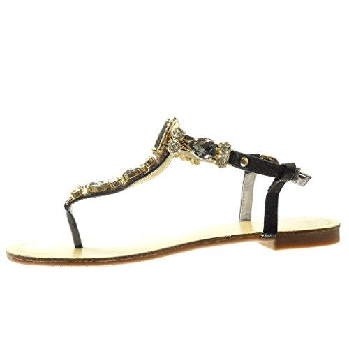 Angkorly - Zapatillas de Moda Sandalias Chanclas correa mujer joyas strass fantasía Talón tacón plano 1.5 CM - Negro