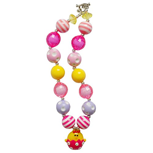 [Chunky Bubblegum Beads Beaded Necklace for Little Girls, Kids, Teens, & Moms (Chick Easter Egg - Hot Pink &] (Hot Costumes For Teens)