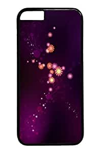 For Iphone 6 Phone Case Cover -Abstract purple flowers Custom PC Hard For Iphone 6 Phone Case Cover Black