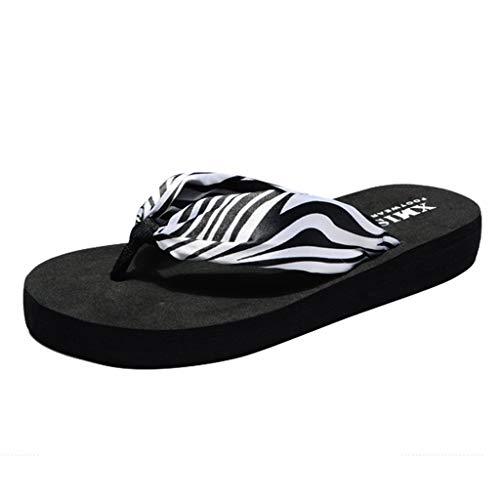 NEEKEY Ladies Fashion Zebra Pattern Bohemian Flip-Flops, Summer Sponge Cake Flat Beach ()