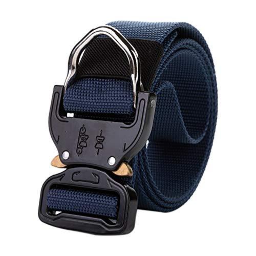 Kitt Men's Outdoor Training Belt Tactical Military Canvas Belt Non-Perforated Webbing for Men Metal Buckle Belt, Suitable for Outdoor Sports, Hanging Keys, Gadgets (Blue, 125X3.8CM)