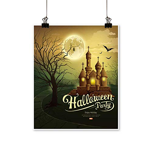 Wall Decor Happy Halloween Party Castles with Message,bat,Silhouette Tree,Moon Wall Art for Bedroom Home,32