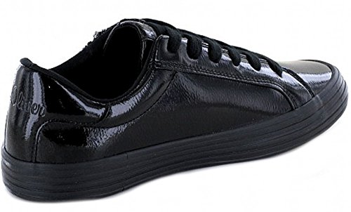 s.Oliver femmes à lacets baskets en noir vernis