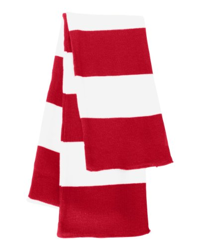 Knit Rugby - Sportsman - Rugby Striped Knit Scarf - SP02 - Red/White