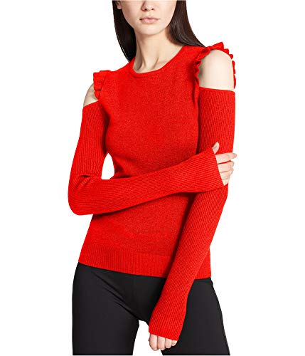 (DKNY Womens Cold Shoulder Metallic Pullover Sweater Red S)