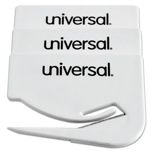Letter Slitter Hand Letter Opener w/Concealed Blade, 2 1/2'', White, 3/Pack, Sold as 1 Package 2 1/2'' UNIVERSAL OFFICE PRODUCTS UNV31803