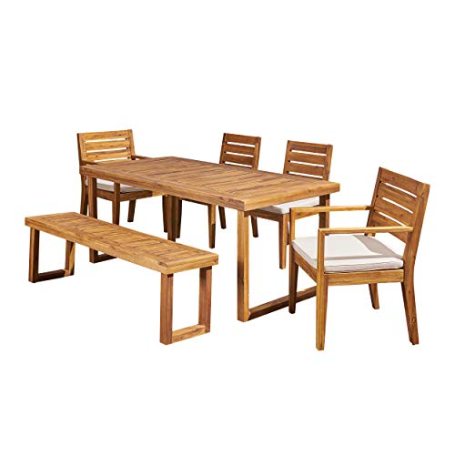 Great Deal Furniture Alice Outdoor 6-Seater Acacia Wood Dining Set with Bench, Sandblast Natural and Cream