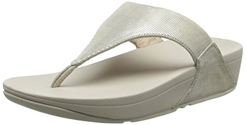 Fitflop Lulu Toe-Thong Sandals-Shimmer-Check, Sandalias con Punta Abierta Para Mujer Gris (Stone)