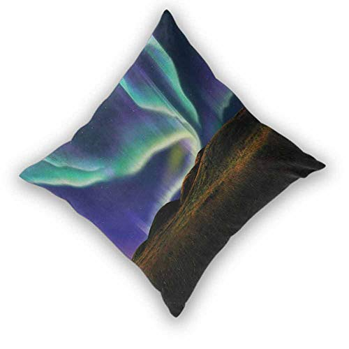 """Alaska Decor Pillow Cushion Cases, Alaskan Meadows in the Night with Aurora Borealis Natural Beauties of the North Microfiber Hypoallergenic Wrinkle Resistant Home Decor for Sofa Bedroom, W18""""xL18"""""""