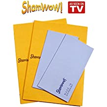The Original Shamwow - Super Absorbent Multi-purpose Cleaning Towel Cloth, Machine Washable, Will Not Scratch (2 Orange, 2 Blue)