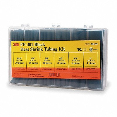 3M(TM) Heat Shrink Tubing Assorted Black Kit FP-301-Black, (Pack of 102)