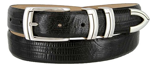 Harbor Men's Italian Genuine Calfskin Leather Designer Dress Belt In Lizard Black, Size 40 - Lizard Embossed Casual Belt