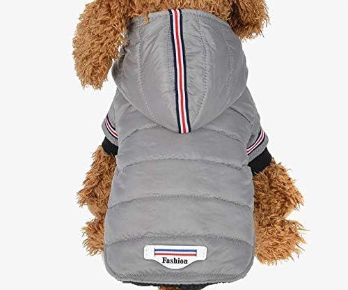 MEI1JIA CELINEZLウィンターペット犬服ウォームダウンジャケット防水コートパーカーチワワ小型中犬用子犬、サイズ:M(グレー) (Color : Grey)