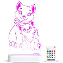 Aloka Cat Starlight Multi-Colored LED Light with Remote Control, Muilt-Color Changing, 8 inch