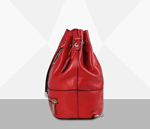 Bag Red Genuine Totes Dual New Leather Bag Package Diagonal Bucket WenL Fashion use Handbags Shoulder 76xqw8EAp