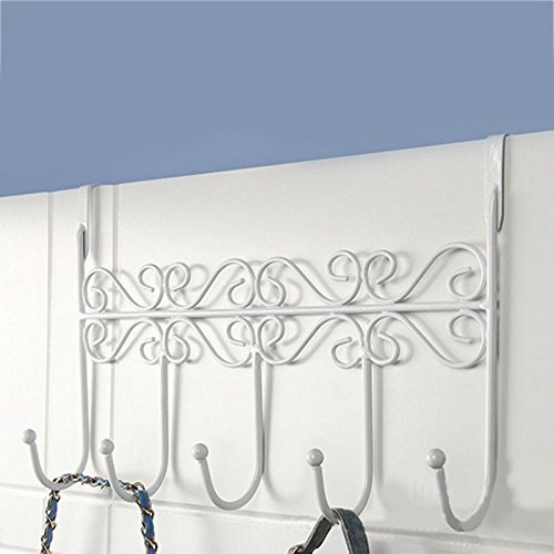 (5 Door Hooks Home Bathroom Kitchen Organizer Hat Towel Hanger Hooks Coat Clothes Door Wall Hooks Door Hanging Rack Holder Color White)