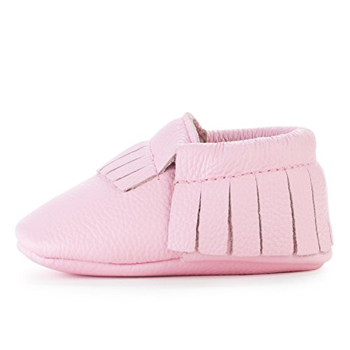 BirdRock Baby Moccasins - 30+ Styles for Boys & Girls! Every Pair Feeds a Child (US 4, Light Pink) -
