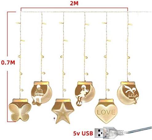 GNBHCP Lichterketten Lichterketten, 3D Vorhang Lichter, Kronleuchter USB-Schnittstelle LED-Nachtlicht-Raum-Dekoration Vorhang Lichter Hochzeit Lichter Weihnachten Lichterketten