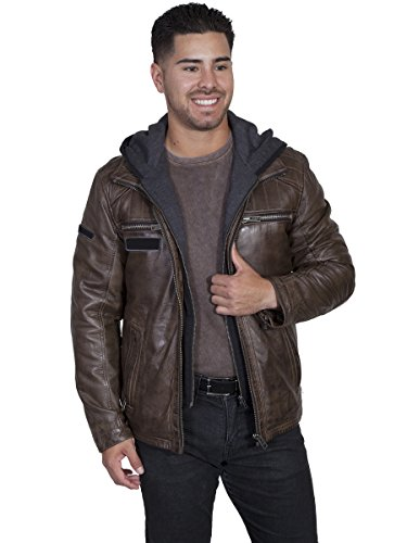 Scully Men's Karl Leather Jacket with Zip Out Hoodie Brown Outerwear Scully Zip