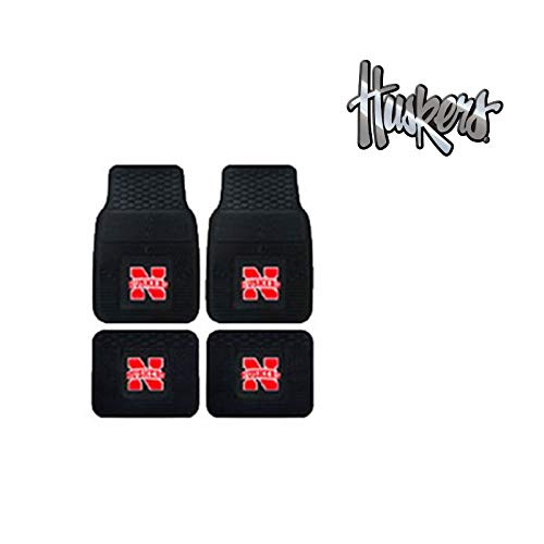 A set of 5 Piece Automotive Gift Set: 2 Front and 2 Rear All Weather Floormats and 1 Chrome Decal - Nebraska State Cornhuskers