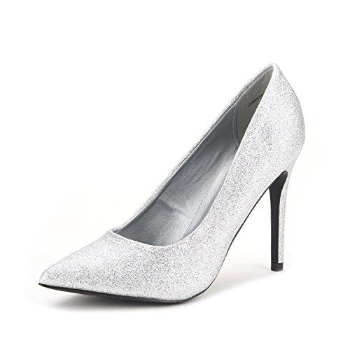 Dream Pairs Christian Womens Classic Fashion Scarpe A Punta Tacco Alto Pompe Nuovo Glitter Argento