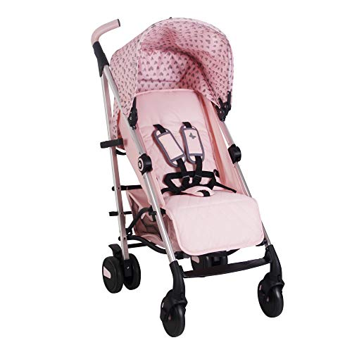 My Babiie Believe Hearts Baby Stroller - Lightweight Baby Stroller with Carry Handle - Silver Frame and Pink Canopy with Hearts - Lightweight Travel Stroller - Suitable from Birth to 33lbs