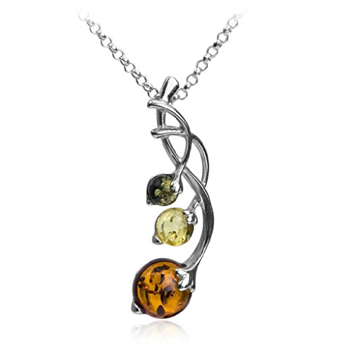 Multicolor Amber Berries Sterling Silver Pendant Necklace Chain 18 Inches