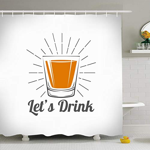 Ahawoso Shower Curtain 60x72 Inches Glass Gray Shot Whiskey Drinking Alcohol Food Reflection Drink Vintage Bourbon Scotch Retro Vodka Waterproof Polyester Fabric Bathroom Curtains Set with Hooks ()