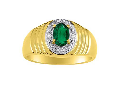 Genuine Diamond & Natural Oval Emerald Ring set in Yellow Gold Plated Silver ()