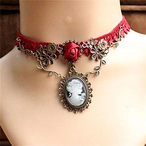 (Guoshang Vintage Palace Rose Vine Lace Necklace with Pendant Gothic Ribbon Necklace Neck Lace Party Choker Necklace Short Flower Necklace for Girls(Red Wine))